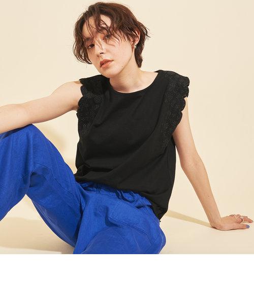 【WEB限定】by ※∴エンブロイダリーノースリーブカットソー -ウォッシャブル-