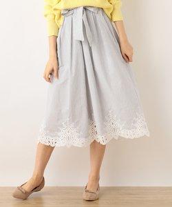 ストライプレース刺繍 スカート