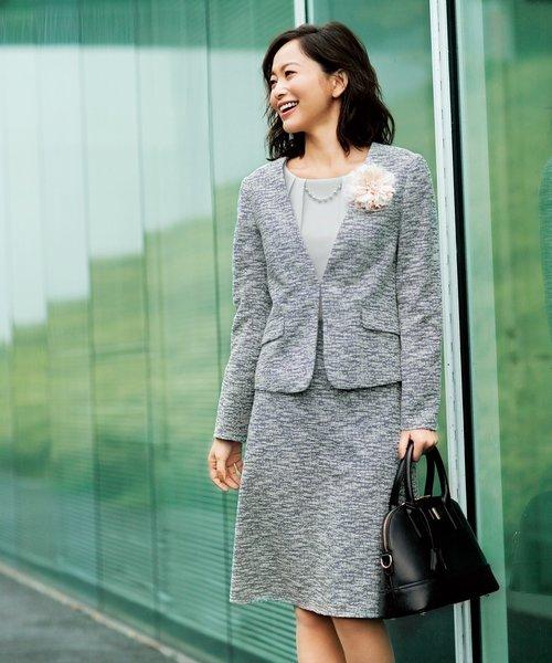 【セレモニー】グログラン&ツイードジャージー スカート