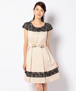 【リボンベルト付き】タックポイントレースミックス ドレス