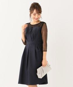 【洗える】ビスチェ風ドットチュール ドレス