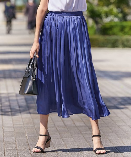 【洗える】サテンプリーツロング スカート