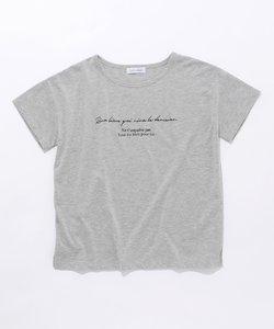 L'aube ボートネック ロゴTシャツ