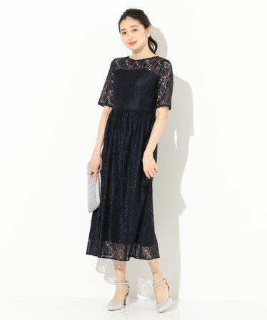 e1d08830c9e56  洗える エアリーレーシー ドレス
