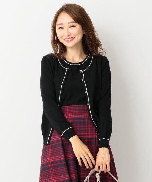 【ツインセット】ライン配色 アンサンブル