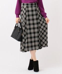【洗える】パターンチェックフレア スカート