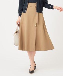 【洗える】サイドボタンフレア スカート