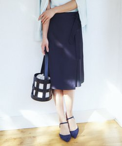 【洗える】リネンレーヨンツイル ラップスカート
