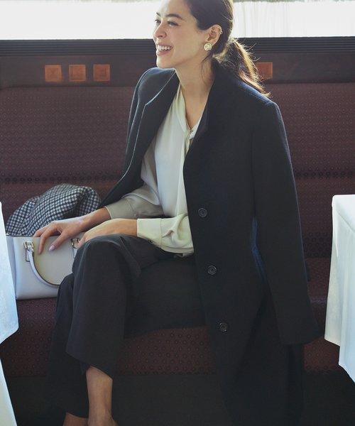 ウールアンゴラビーバー スタンドカラー コート