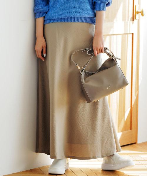 【中村アンさん着用】テンセルサテンギャバ フレア スカート(番号2D26)