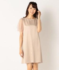 【結婚式やパーティに】サテンコンビチュールレース ドレス