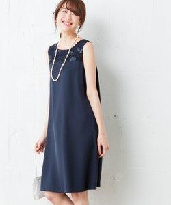 【結婚式やパーティに】スパンコールレースコンビキュプラサテン ドレス