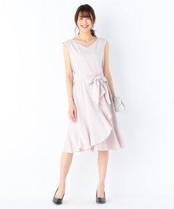 【結婚式やパーティに】2WAYポプリンラッフル ドレス