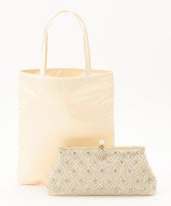 【結婚式やパーティに】ビーズ刺繍バッグ&サブトート バッグ