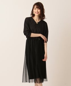 【PRIER】ドルマン袖プリーツ ドレス