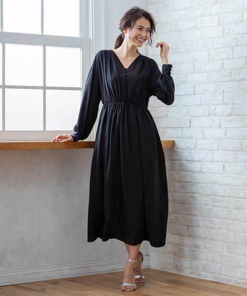【PRIER】ボリュームスリーブVネックギャザーロング ドレス