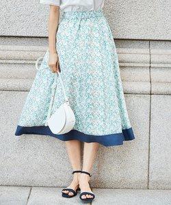 【シルク混】フラワープリント スカート