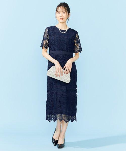 【PRIER】パネル柄レースタイトドレス