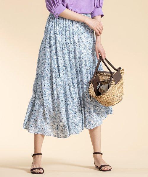 【洗える】シルクタッチプリント ギャザースカート