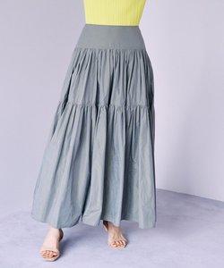 【Rythme KUMIKYOKU】シャンブレータフタ ギャザーフレアスカート