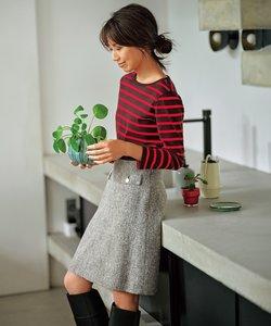 【東原亜希さん着用・KMKK】 へリンボーン ツイード スカート(番号KJ25)
