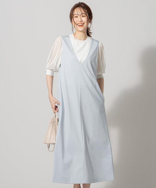 【洗える】ハイストレッチポンチ ジャンパースカート ワンピース