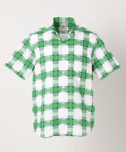【Profilo】ドビーマルチチェック オープンカラー 半袖シャツ