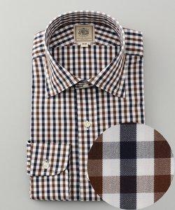 【EASY IRON】カラードブロックチェック ワイドカラーシャツ