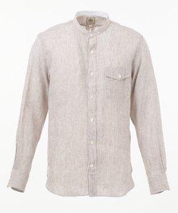 リネンリラックスフィット バンドカラー シャツ