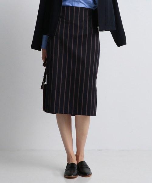 【洗える!】レジメンタルストライプ タイトスカート