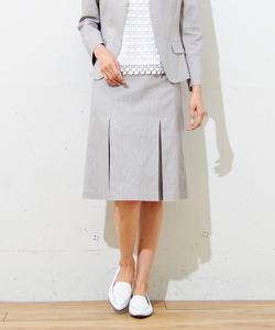 【洗える!】T/CリネンヘリンボンST スカート