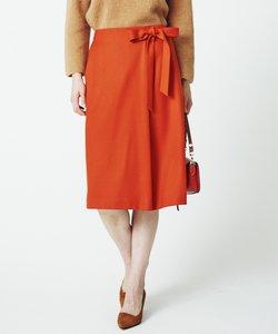 カシミヤ混フラノ 腰リボン付きスカート