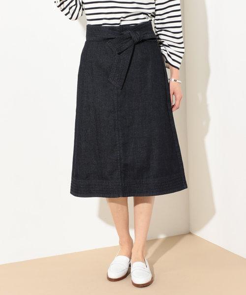 【追加生産決定!洗える】ストレッチデニム ミディ丈スカート