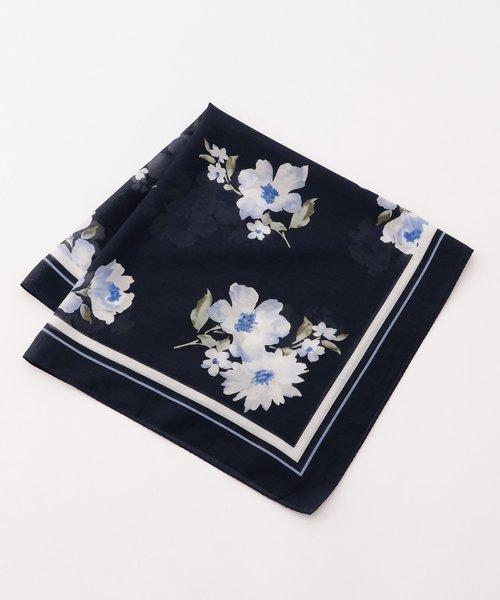 【シルク混】ヴィンテージフラワー柄ミディアム スカーフ
