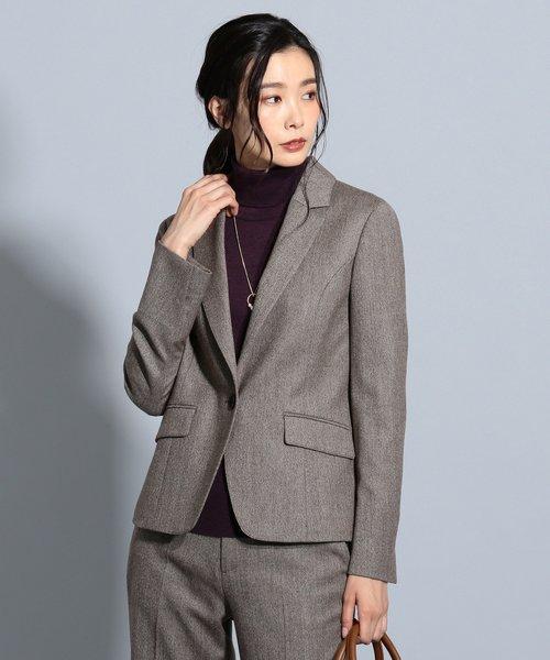 【スーツ対応】ウールストレッチヘリンボーン テーラードジャケット