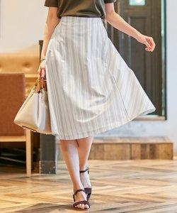 【洗える】ストライプジャージー スカート