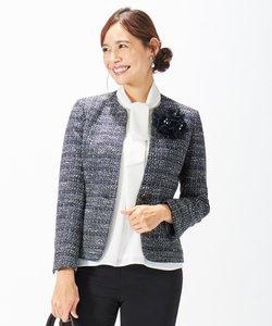 【セットアップ対応】ファンシーツイード Vネックジャケット