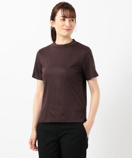 【WEB限定】コットンリブスムース スタンドネックTシャツ