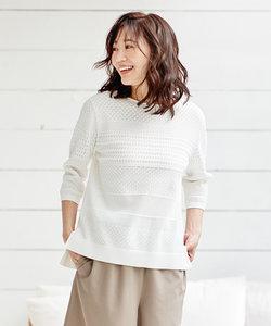 【洗える】レーシーパターン ニット