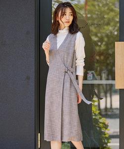 【洗える】RIOPERE MIXチェック ジャンパースカート