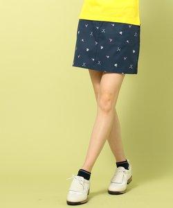 【WOMEN】【ストレッチ】ツイルストレッチプリント スカート
