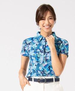 【WOMEN】【吸水速乾 / UVケア】スプリングフラワー柄 ポロシャツ