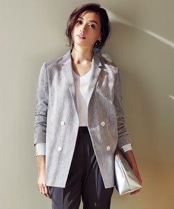 【00.0サイズ有り】Cluster Linen ダブルブレストジャケット