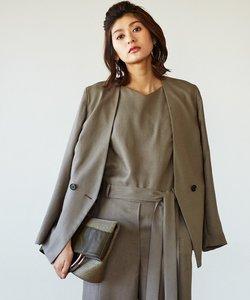 【セットアップ可】Linen Like OX ダブルブレストジャケット