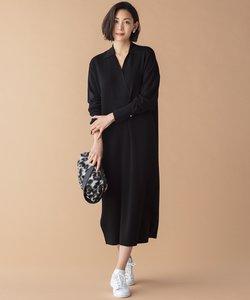 【WEB・一部店舗限定】シャツ風 ニットワンピース