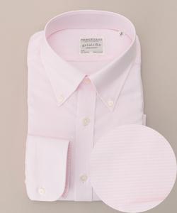 【形状安定】【ボタンダウン/織り柄】プレミアムプリーツ ドレスシャツ