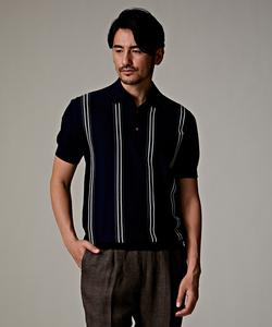 GIZAコンパクトコットン ストライプ ニットポロシャツ