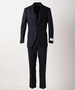 【J∞Quality】レトロテック スーツ ストライプ 紺