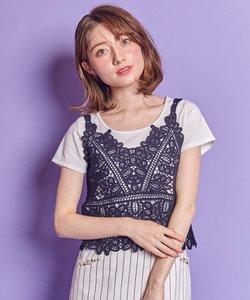 【2SET】クロッシェキャミ Tシャツ