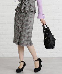 【洗える】カラーライングレンチェック スカート